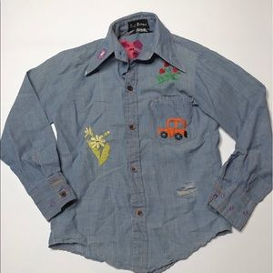 VTG 70's Kids Long Sleeve Embroidered Jean Shirt